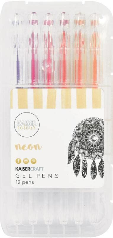 Set Of 12 Gel Pens kaisercraft gel pen box set of 12 neon