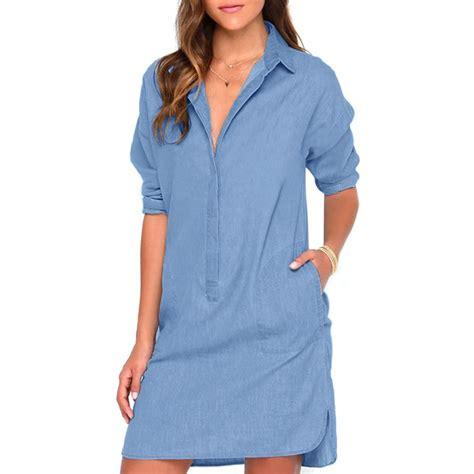 Sy0nzgb02 Big Size Blouse Dress Denim Size S M Size L s casual sleeve denim jean shirt dress