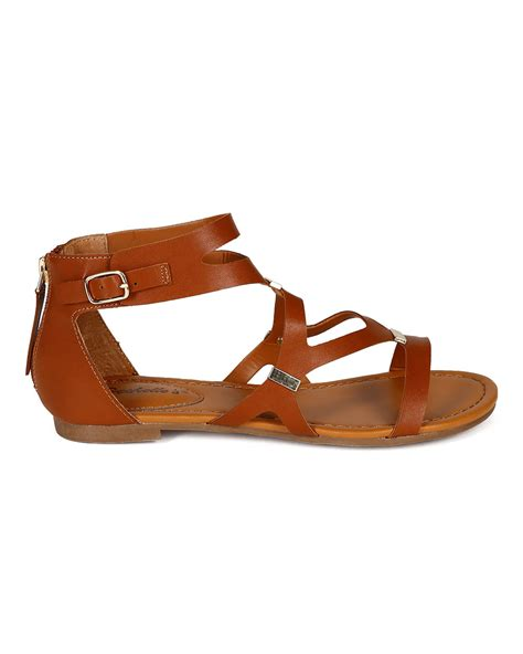 Anneliese Sendal Wedges Wanita Rubby X Brown new breckelles ruby 51 leatherette strappy cut out flat gladiator sandals ebay