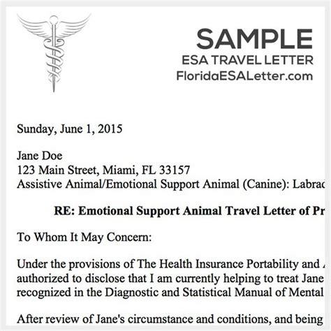 emotional support animal letter template gallery of esa travel letter