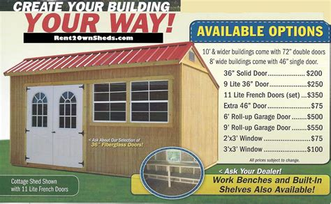 rent to own sheds portable storage buildings storage sheds
