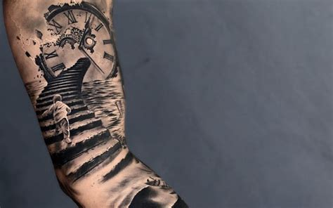 staircase tattoo 30 clock designs