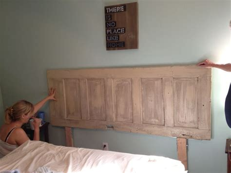 wooden door headboard ideas diy headboard i made from old barn door my next big