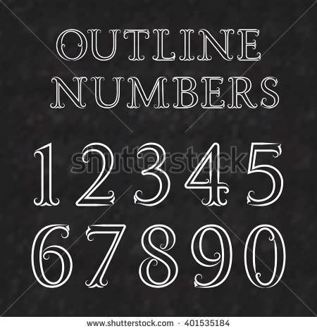 White Outline Font by White Numbers Dots Lines Flourishes On Stock Vector 446945404