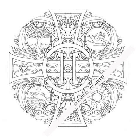 catholic mandala coloring pages four elements cross mandala an coloring page see