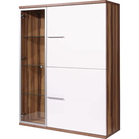 nevada gloss baltimore walnut and white display cabinet 9405