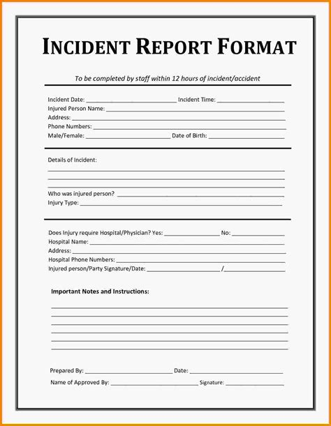 Exle Of Incident Report Letter In Hospital department incident report templates 28 images sle