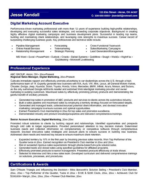Direct Sales Executive Sle Resume Exle Digital Marketing Account Executive Resume Free Sle