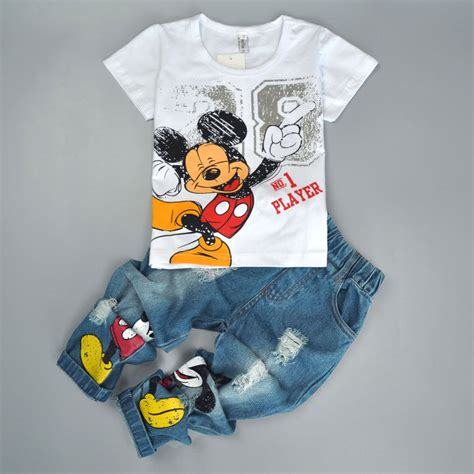 2pcs toddler baby boys mickey t shirt tops denim clothes suit ebay