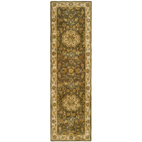 rug runners 2 x 14 safavieh heritage green taupe 2 ft 3 in x 14 ft runner hg954a 214 the home depot