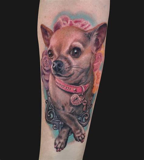 new school puppy tattoo chihuahua dog portrait tattoo by jamie lee parker tattoonow