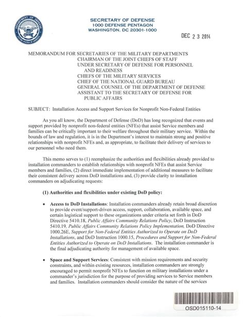 Ford Credit Letterhead Secdef Memo Installation Access For Nonprofits