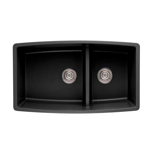 Blanco Performa Undermount Composite 33 In Double Bowl Black Undermount Kitchen Sinks