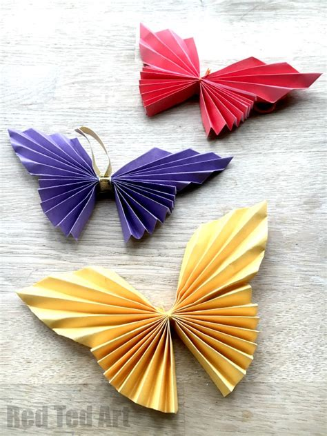 Folded Paper Butterflies - easy paper butterfly ted s