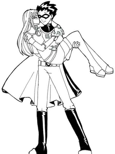 raven superhero coloring page robin and his lover in teen titans coloring page