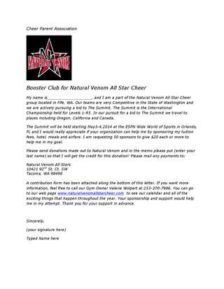 Summit Sponsorship Letter By Natural Venom Issuu Cheerleading Donation Letter Template