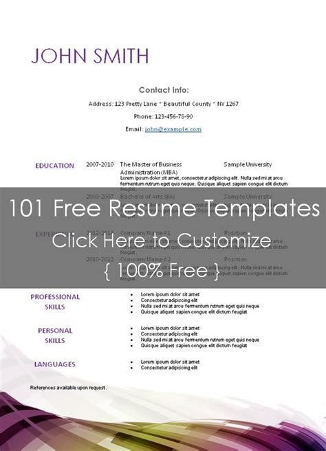 editable resume templates free printable resume templates