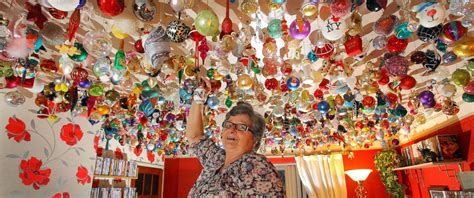 decorations to hang from ceiling grandmother hangs 2 530 ornaments on ceiling