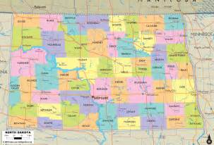 North Dakota Map Usa by Political Map Of North Dakota Ezilon Maps