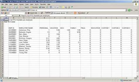 Pto Spreadsheet Template by Greenshades Software