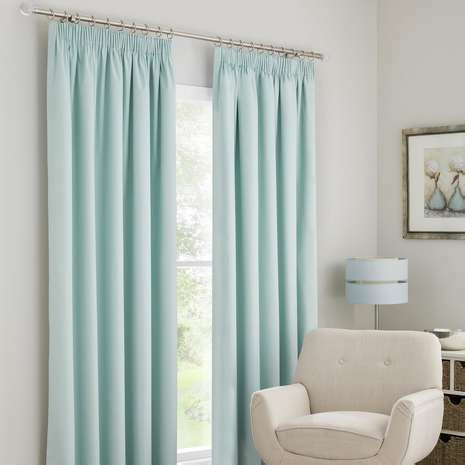 Mint Blue Curtains Solar Mint Blackout Pencil Pleat Curtains Dunelm