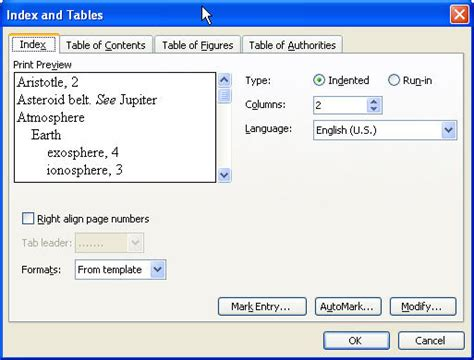 List Of Tables In Word by How To Create A List Of Figures In Ms Word 2003