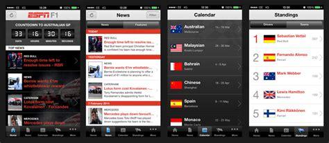 espn mobile app espn f1 the ultimate formula one mobile app for
