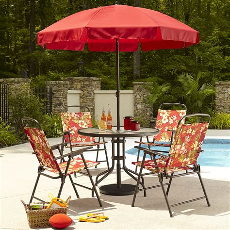 Essential Garden Folding 6pc Patio Set Floral Limited Patio Sets With Umbrella