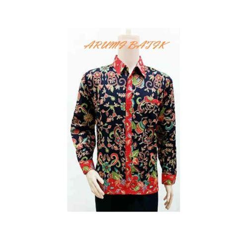 Kemeja Hem Atasan Baju Seragam Pria Batik 1358 Ungu baju batik seragam kantor
