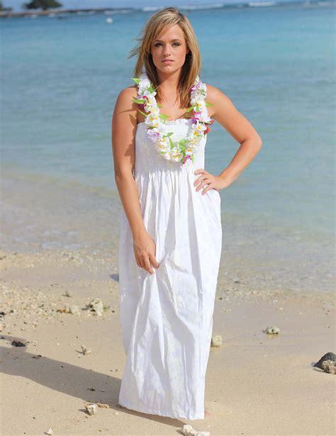Maxi Smocked Top Long Hawaiian Wedding Dress: Shaka Time