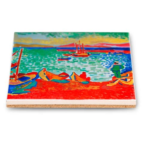 andre derain boats in the port of collioure andre derain ceramic trivet boats in the port of