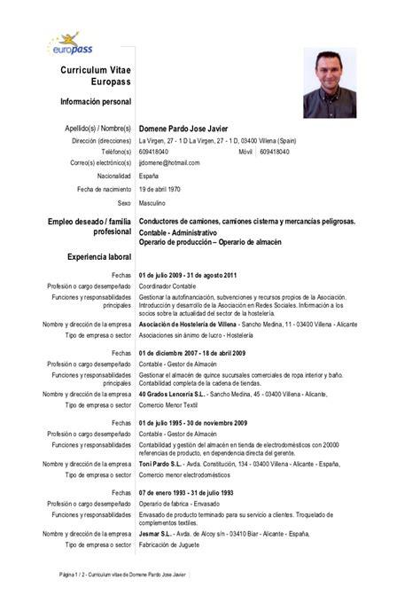 Modelo De Curriculum Europeo Europass C Vjosejavier
