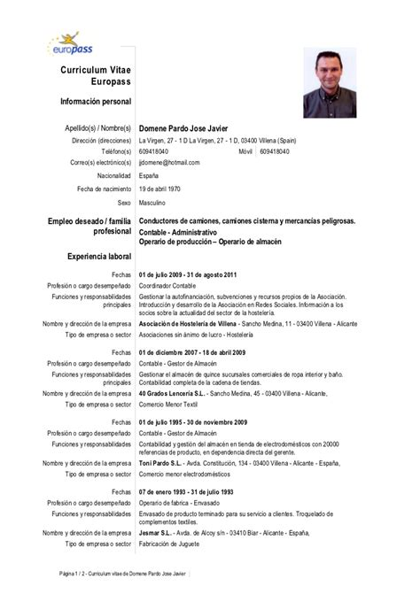 Modelo Curriculum Vitae Para Hosteleria europass c vjosejavier