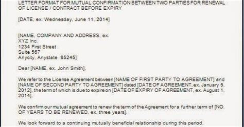 Agreement Confirmation Letter Every Bit Of Agreement Renewal Confirmation Letter