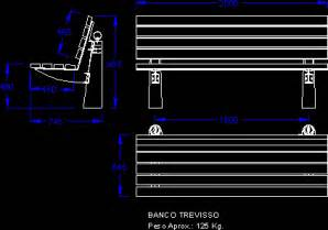 trevisso bench in autocad drawing bibliocad