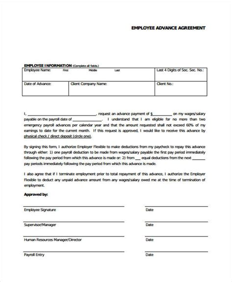 Loan Agreement Letter Exle Employee Advance Form Employee Advance Request Form Sle Employee Advance Request Forms