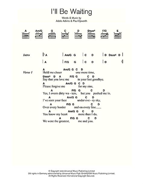 lyrics of adele i ll be waiting i ll be waiting sheet music by adele lyrics chords