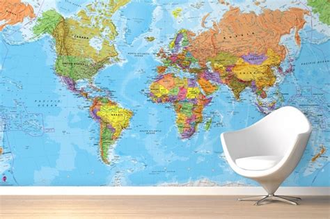 world map wallpaper murals political world map mural wallpaper patterns pinterest