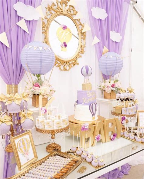 Baby Shower Purple by Purple Gold Air Balloon Baby Shower Baby Shower