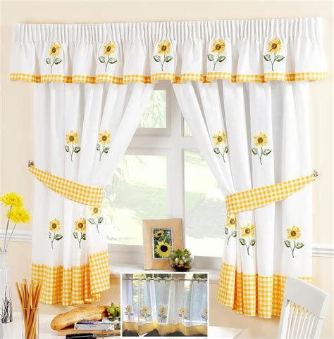 Kitchen Curtains Yellow Sunflower Yellow White Voile Cafe Net Curtain Panel Kitchen Curtains
