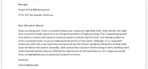 Complaint Letter To Restaurant About Poor Food food poisoning complaint response letter sle cover