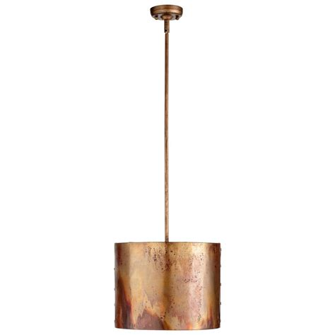 Copper Pendant Light Iron And Copper Drum Pendant Light 05156 Destination Lighting