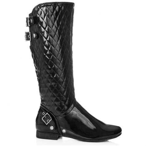 buy yeo flat quilted buckle biker boots black patent