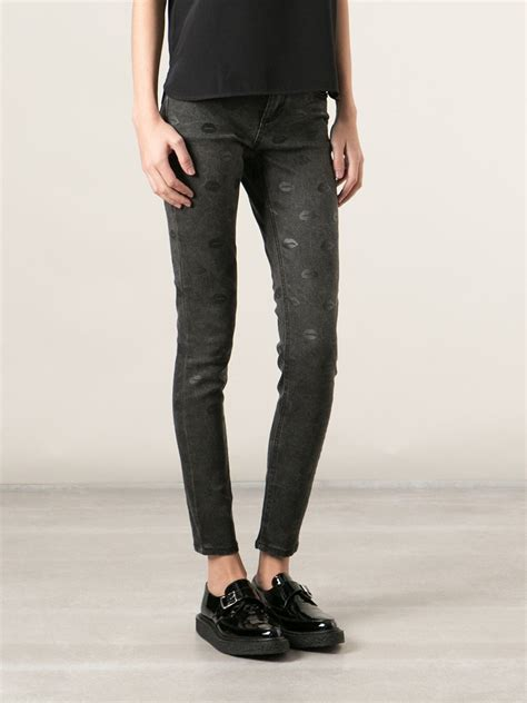 black patterned jeans lyst american retro lips patterned skinny jeans in black