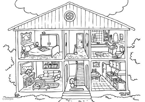 how to color a house coloring page house interior img 25995