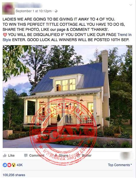 Mobile Home Giveaway On Facebook - quot cottage giveaway quot facebook scam hoax slayer