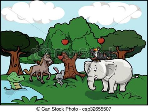 cute animal and forest scenery vector clipart search