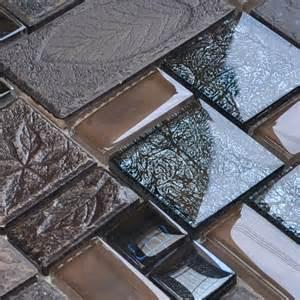 Porcelain and glass tiles wall bathroom backsplash leaves patterns design mosaic tiles kitchen