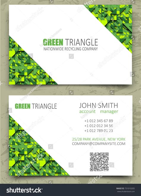 Green Themed Business Card Template by Green Triangles Modern Business Card Design Stock Vector
