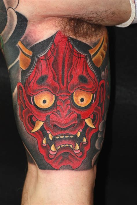 hanya tattoo designs geisha with hannya mask on bicep